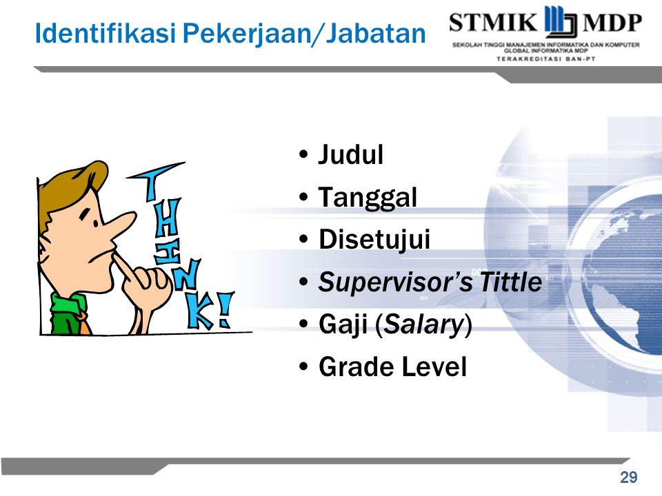 29 Identifikasi Pekerjaan/Jabatan Judul Tanggal Disetujui Supervisor's Tittle Gaji (Salary) Grade Level