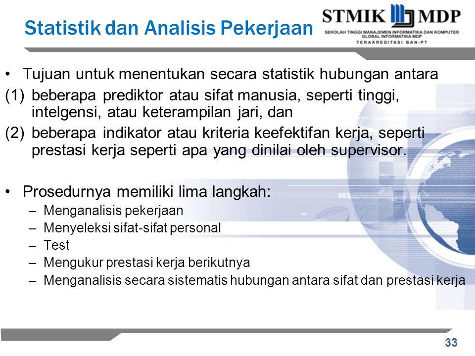 33 Statistik dan Analisis Pekerjaan Tujuan untuk menentukan secara statistik hubungan antara (1)beberapa prediktor atau sifat manusia, seperti tinggi,