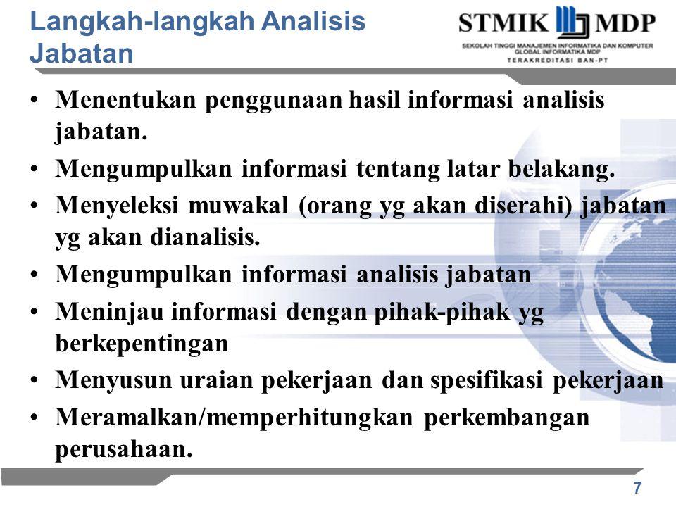 7 Menentukan penggunaan hasil informasi analisis jabatan. Mengumpulkan informasi tentang latar belakang. Menyeleksi muwakal (orang yg akan diserahi) j