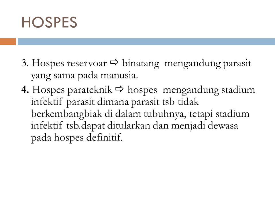 3. Hospes reservoar  binatang mengandung parasit yang sama pada manusia. 4. Hospes parateknik  hospes mengandung stadium infektif parasit dimana par