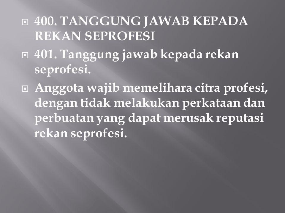  400.TANGGUNG JAWAB KEPADA REKAN SEPROFESI  401.