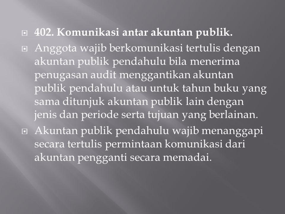  402.Komunikasi antar akuntan publik.
