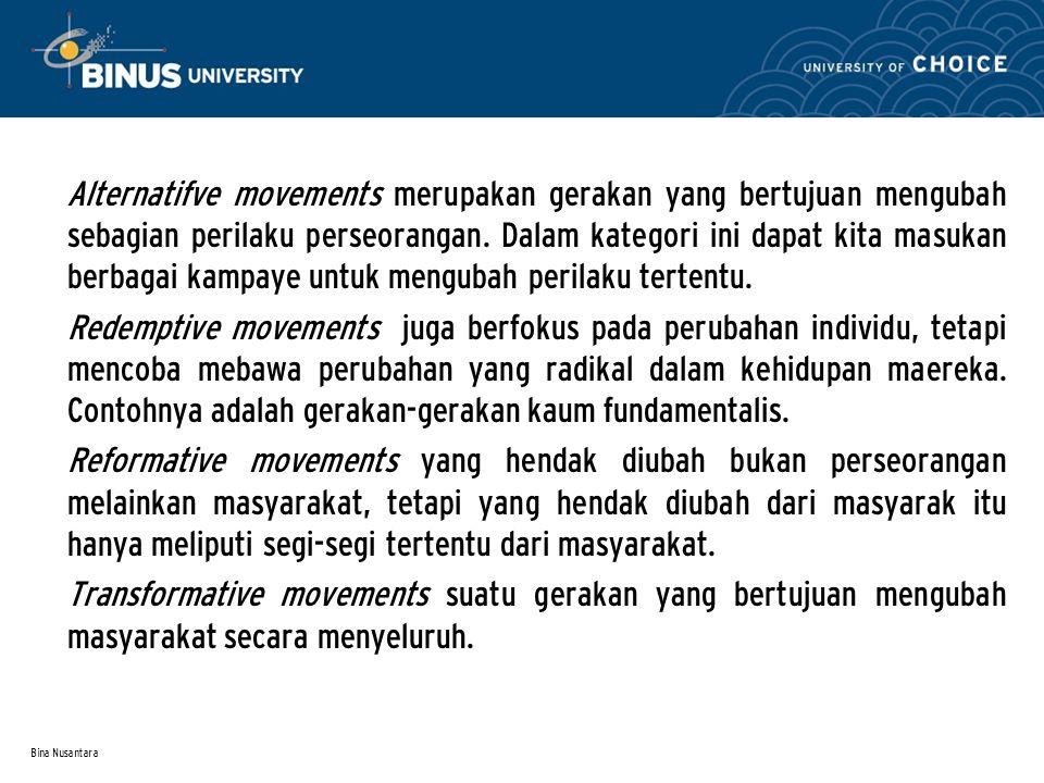 Bina Nusantara Alternatifve movements merupakan gerakan yang bertujuan mengubah sebagian perilaku perseorangan.