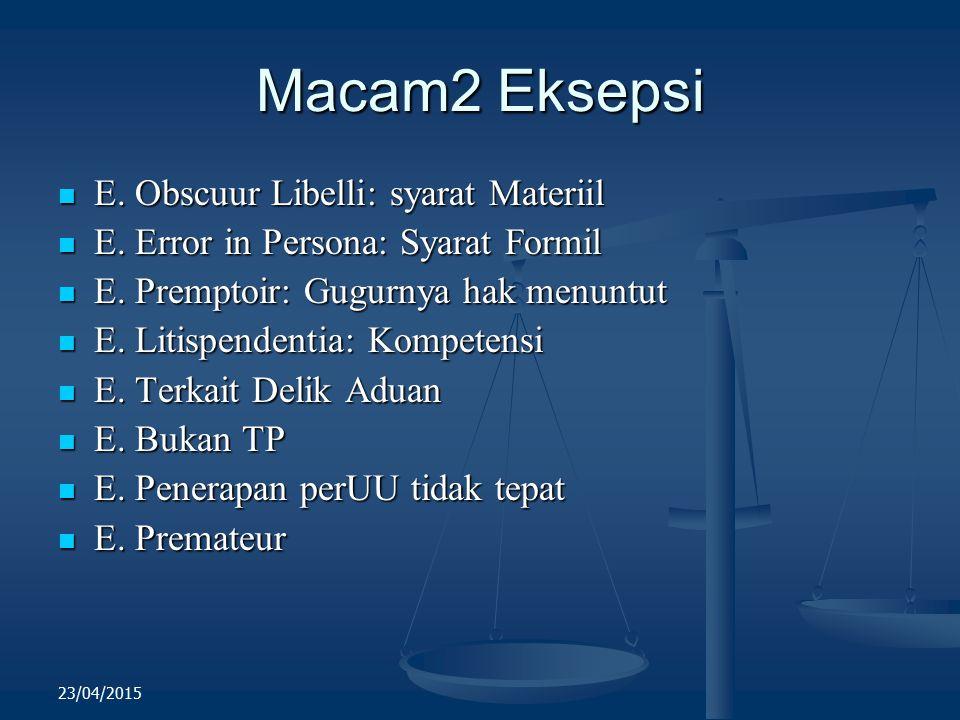 Macam2 Eksepsi E. Obscuur Libelli: syarat Materiil E. Obscuur Libelli: syarat Materiil E. Error in Persona: Syarat Formil E. Error in Persona: Syarat
