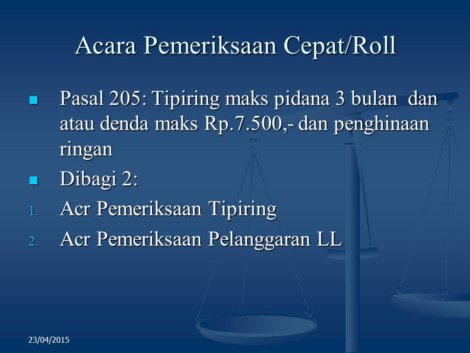 Acara Pemeriksaan Cepat/Roll Pasal 205: Tipiring maks pidana 3 bulan dan atau denda maks Rp.7.500,- dan penghinaan ringan Pasal 205: Tipiring maks pid