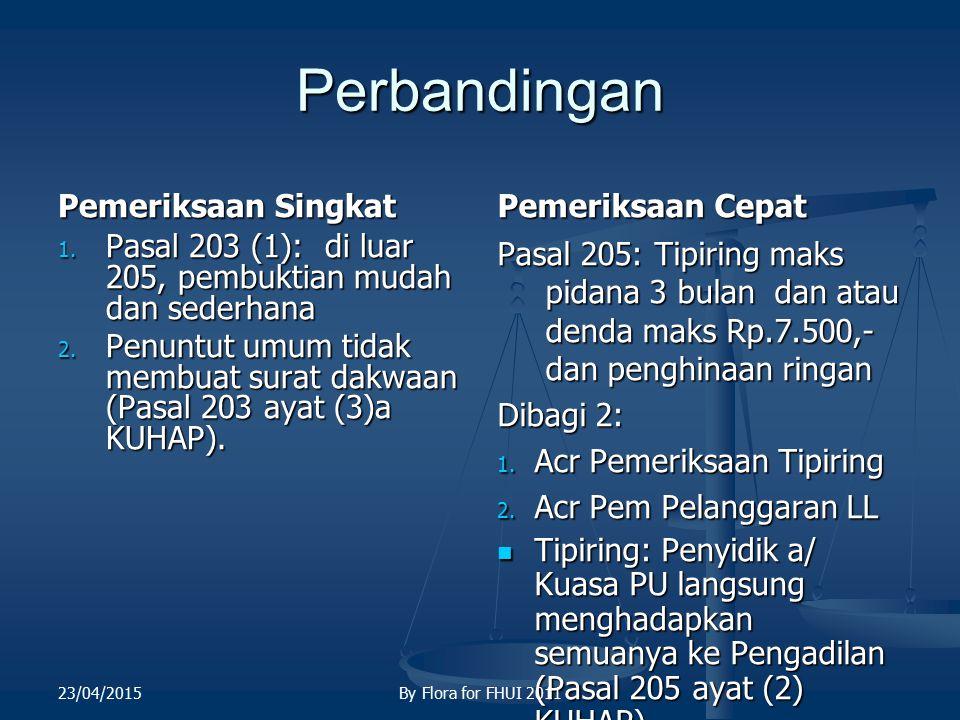 Perbandingan Pemeriksaan Singkat 1. Pasal 203 (1): di luar 205, pembuktian mudah dan sederhana 2. Penuntut umum tidak membuat surat dakwaan (Pasal 203