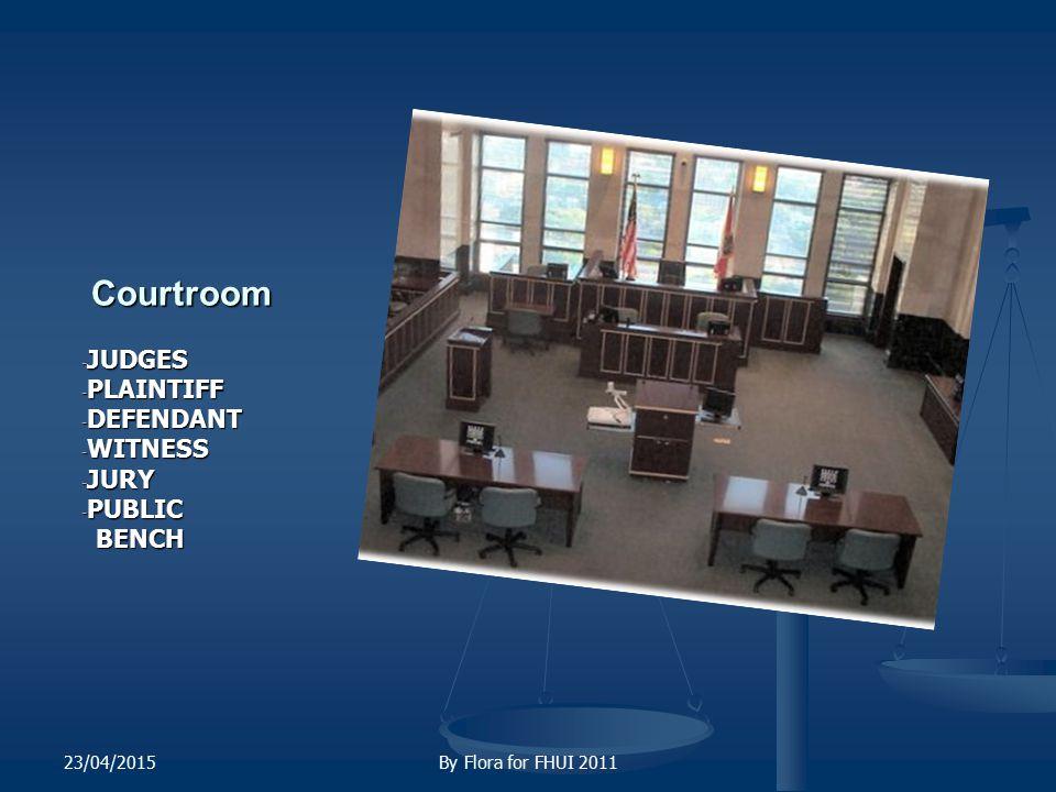 Courtroom Courtroom - JUDGES - PLAINTIFF - DEFENDANT - WITNESS - JURY - PUBLIC BENCH 23/04/2015By Flora for FHUI 2011
