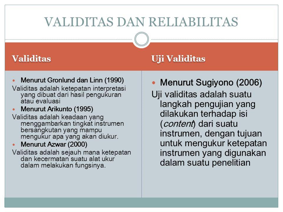 Validitas Uji Validitas Menurut Gronlund dan Linn (1990) Validitas adalah ketepatan interpretasi yang dibuat dari hasil pengukuran atau evaluasi Menur