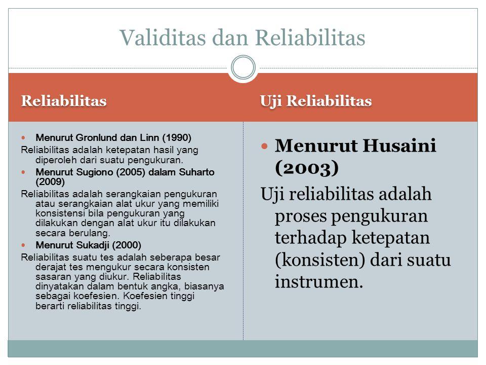 Reliabilitas Uji Reliabilitas Menurut Gronlund dan Linn (1990) Reliabilitas adalah ketepatan hasil yang diperoleh dari suatu pengukuran. Menurut Sugio