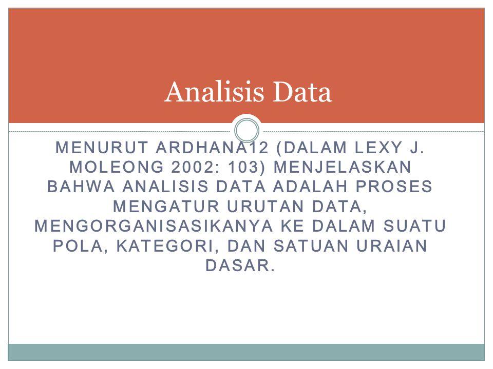 MENURUT ARDHANA12 (DALAM LEXY J. MOLEONG 2002: 103) MENJELASKAN BAHWA ANALISIS DATA ADALAH PROSES MENGATUR URUTAN DATA, MENGORGANISASIKANYA KE DALAM S