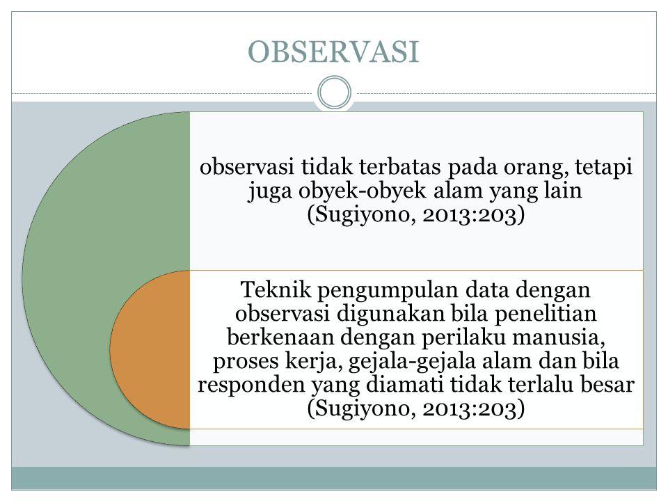 OBSERVASI observasi tidak terbatas pada orang, tetapi juga obyek-obyek alam yang lain (Sugiyono, 2013:203) Teknik pengumpulan data dengan observasi di