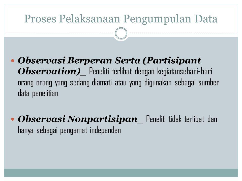 Proses Pelaksanaan Pengumpulan Data Observasi Berperan Serta (Partisipant Observation)_ Peneliti terlibat dengan kegiatansehari-hari orang orang yang
