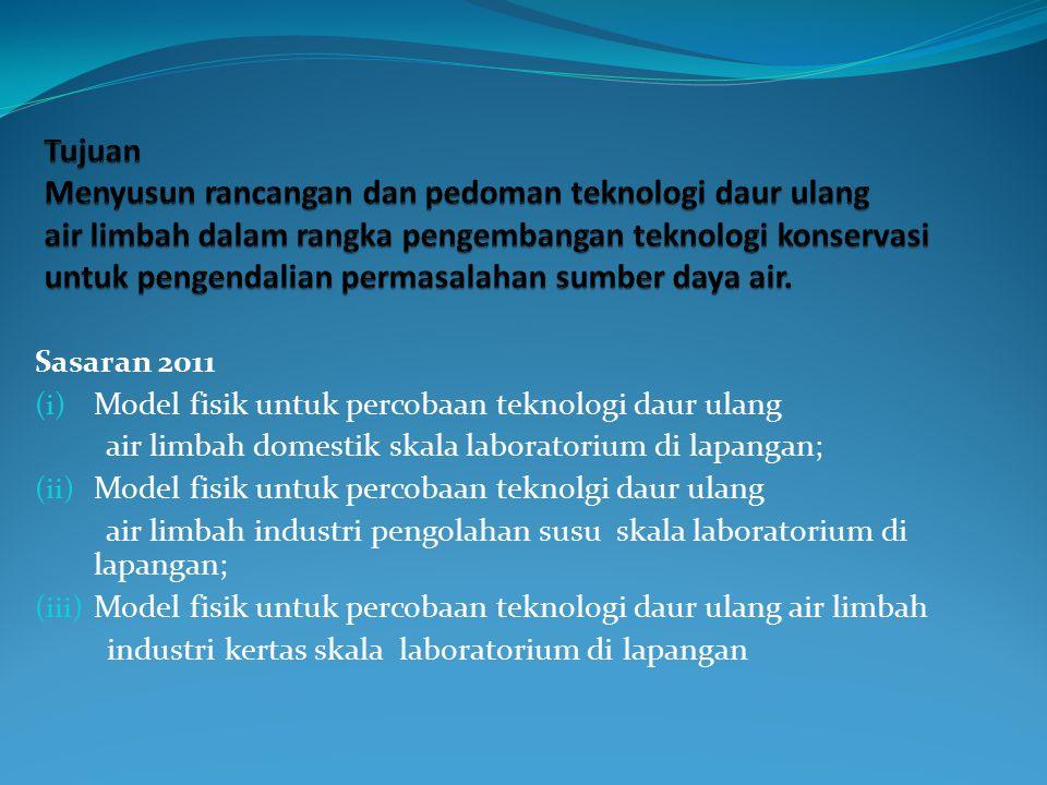 Konsep penelitian teknologi daur ulang air limbah : 1.Area kajian penelitian meliputi : - kajian sistem IPAL yang ada - kajian kualitas air limbah sebelum dan setelah IPAL 2.
