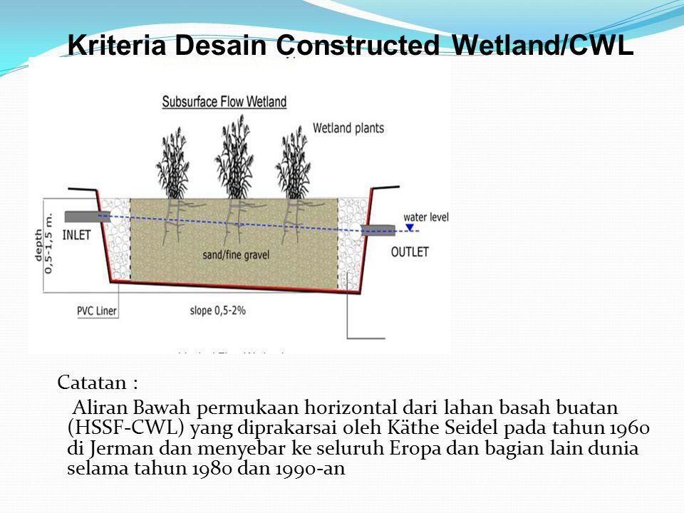 Kriteria Desain Constructed Wetland/CWL Catatan : Aliran Bawah permukaan horizontal dari lahan basah buatan (HSSF-CWL) yang diprakarsai oleh Käthe Seidel pada tahun 1960 di Jerman dan menyebar ke seluruh Eropa dan bagian lain dunia selama tahun 1980 dan 1990-an