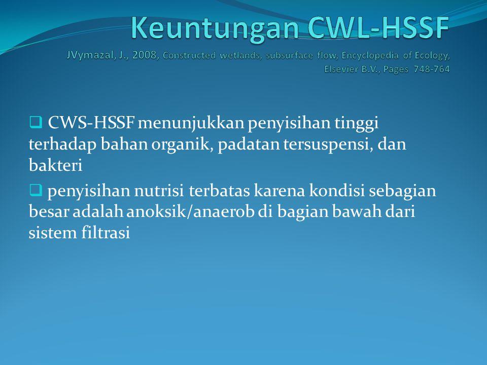  CWS-HSSF menunjukkan penyisihan tinggi terhadap bahan organik, padatan tersuspensi, dan bakteri  penyisihan nutrisi terbatas karena kondisi sebagian besar adalah anoksik/anaerob di bagian bawah dari sistem filtrasi