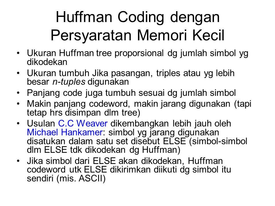 Huffman Coding dengan Persyaratan Memori Kecil Ukuran Huffman tree proporsional dg jumlah simbol yg dikodekan Ukuran tumbuh Jika pasangan, triples ata