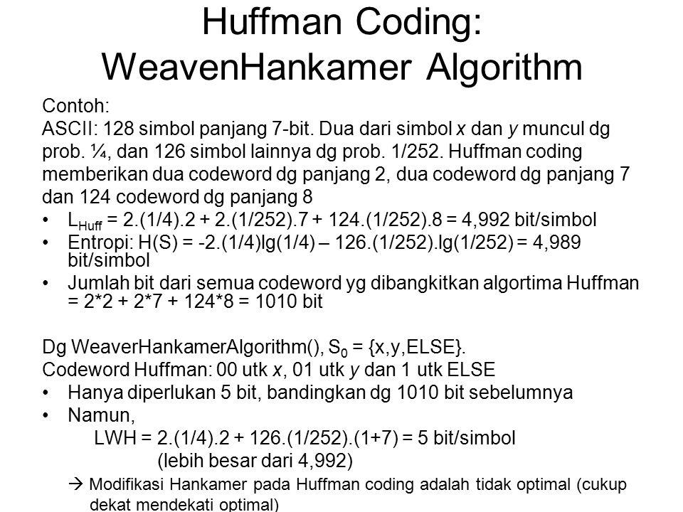 Contoh: ASCII: 128 simbol panjang 7-bit. Dua dari simbol x dan y muncul dg prob. ¼, dan 126 simbol lainnya dg prob. 1/252. Huffman coding memberikan d