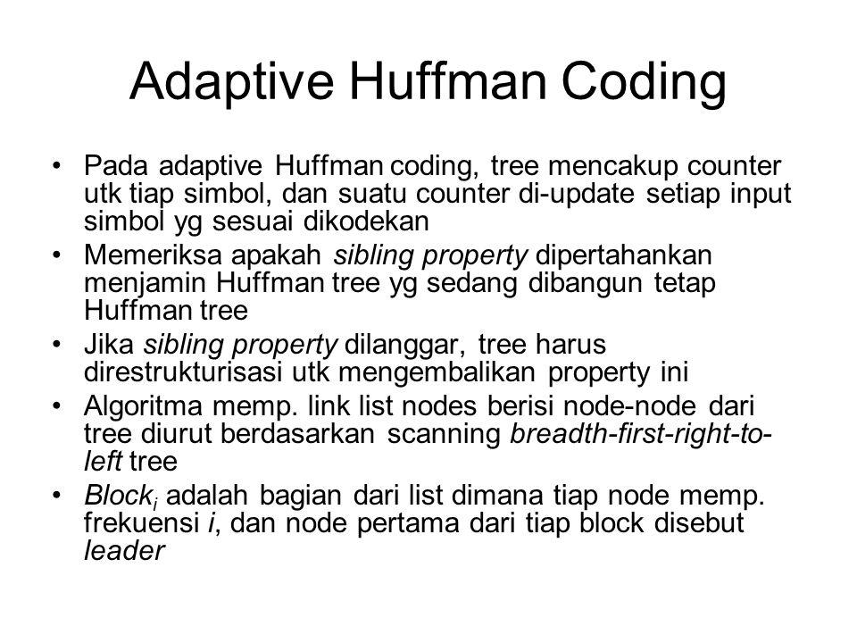Adaptive Huffman Coding Pada adaptive Huffman coding, tree mencakup counter utk tiap simbol, dan suatu counter di-update setiap input simbol yg sesuai