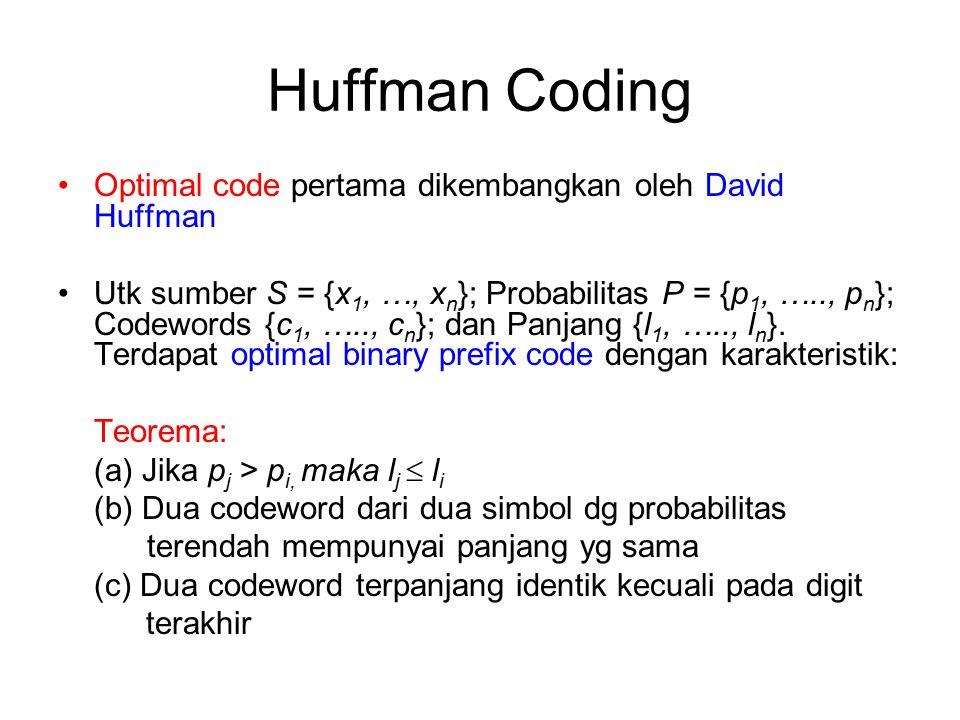 Huffman Coding Optimal code pertama dikembangkan oleh David Huffman Utk sumber S = {x 1, …, x n }; Probabilitas P = {p 1, ….., p n }; Codewords {c 1,