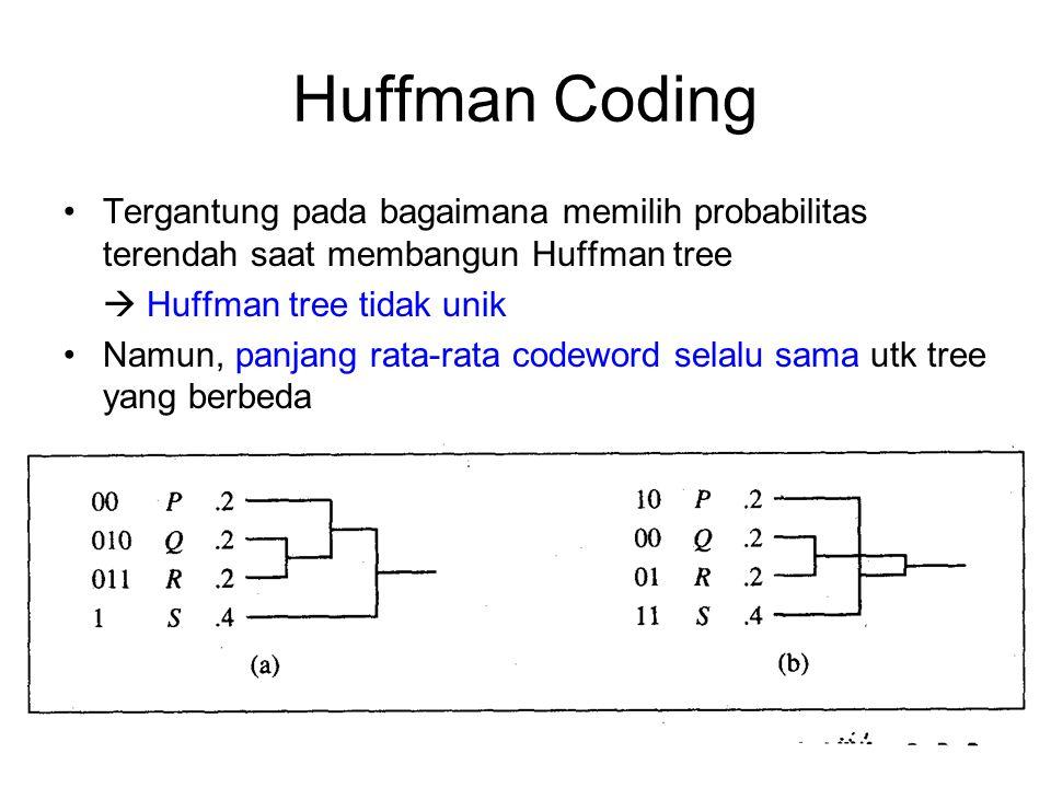 Huffman Coding Proses coding: mentransmisikan codeword sesuai dg simbol-simbol yg akan dikirim, mis ABAAD  101111001 Untuk decode message, konversi tabel harus diketahui penerima  dp dibangun Huffman tree Masalah: pengirim (encoder) dan penerima (decoder) harus menggunakan coding (Huffman tree) yang sama 0011011  DAB A 1 B 011 C 010 D 001 E 000