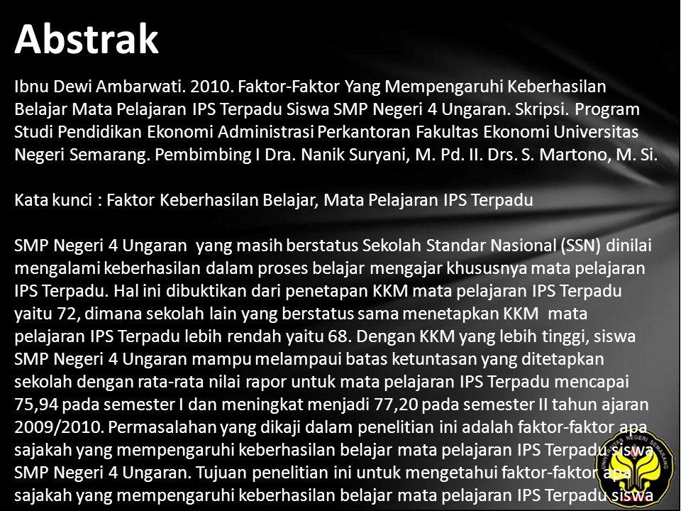 Abstrak Ibnu Dewi Ambarwati. 2010.