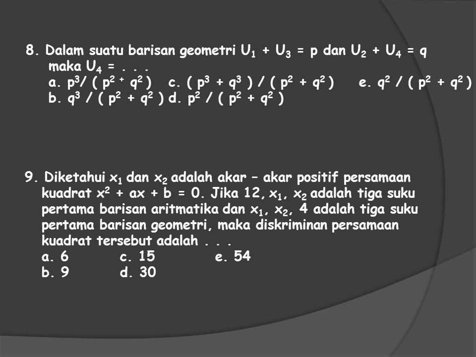 9. Diketahui x 1 dan x 2 adalah akar – akar positif persamaan kuadrat x 2 + ax + b = 0. Jika 12, x 1, x 2 adalah tiga suku pertama barisan aritmatika