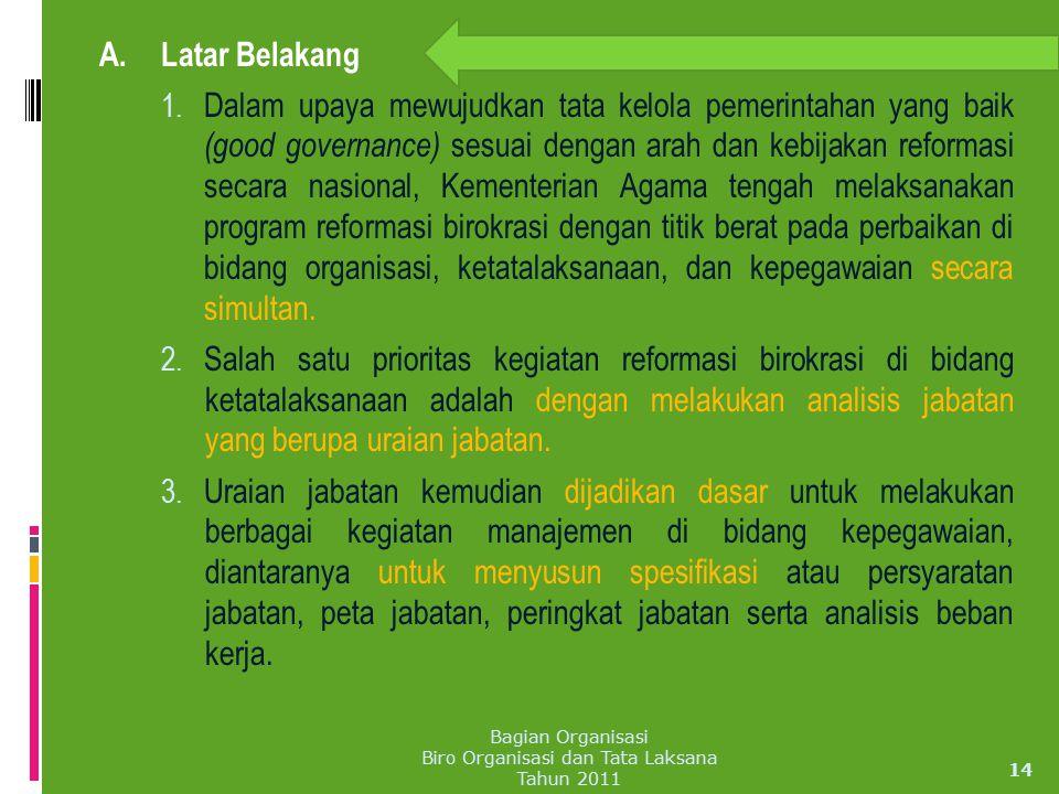 A. Latar Belakang 1. Dalam upaya mewujudkan tata kelola pemerintahan yang baik (good governance) sesuai dengan arah dan kebijakan reformasi secara nas