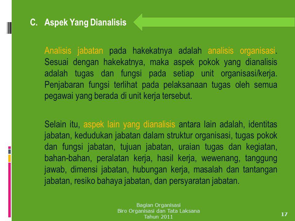 C. Aspek Yang Dianalisis Analisis jabatan pada hakekatnya adalah analisis organisasi. Sesuai dengan hakekatnya, maka aspek pokok yang dianalisis adala