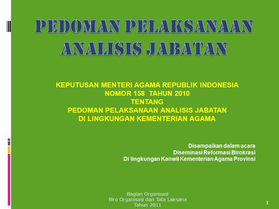 KEPUTUSAN MENTERI AGAMA REPUBLIK INDONESIA NOMOR 158 TAHUN 2010 TENTANG PEDOMAN PELAKSANAAN ANALISIS JABATAN DI LINGKUNGAN KEMENTERIAN AGAMA 1 Disampa
