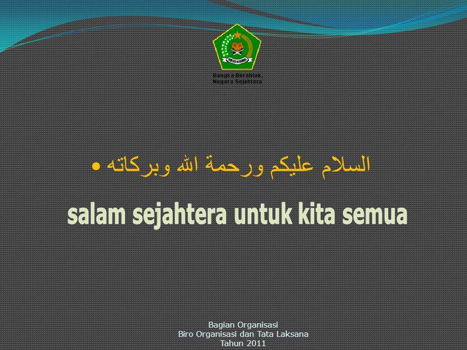 السلام عليكم ورحمة الله وبركاته Bagian Organisasi Biro Organisasi dan Tata Laksana Tahun 2011