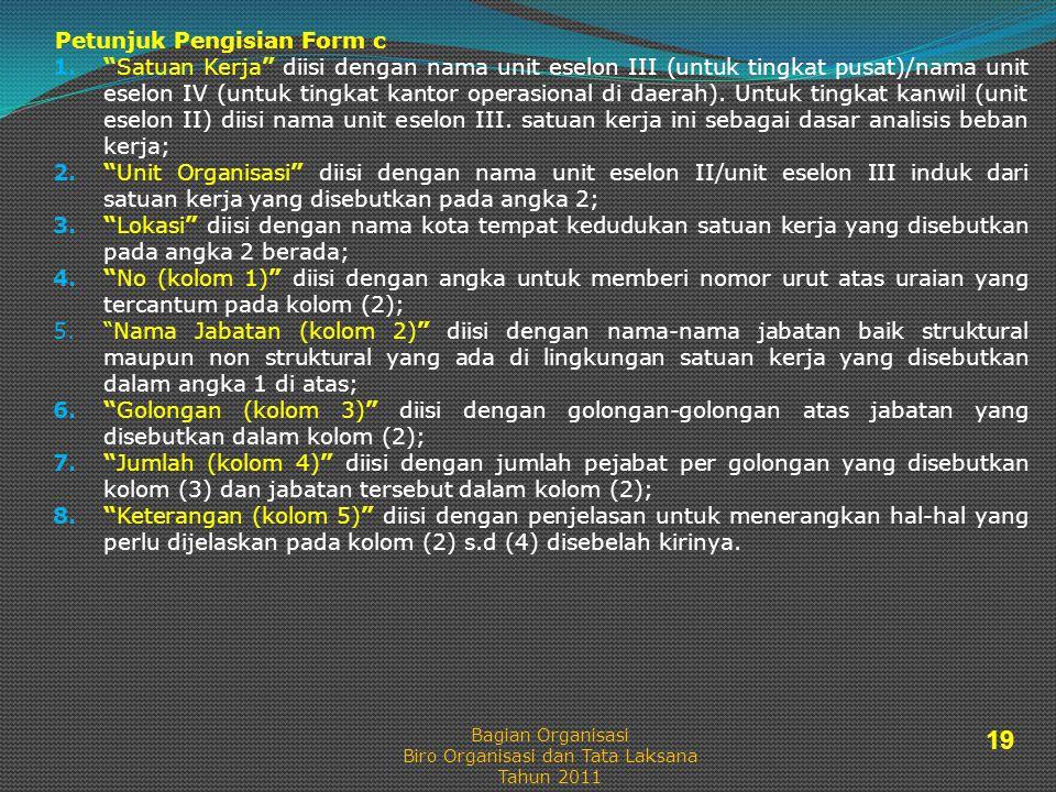 Petunjuk Pengisian Form c 1. Satuan Kerja diisi dengan nama unit eselon III (untuk tingkat pusat)/nama unit eselon IV (untuk tingkat kantor operasional di daerah).