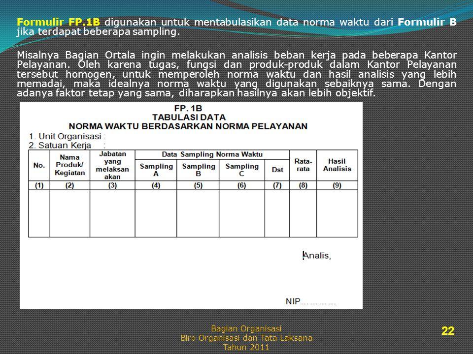 Formulir FP.1B digunakan untuk mentabulasikan data norma waktu dari Formulir B jika terdapat beberapa sampling.