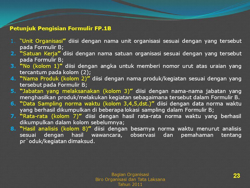 Petunjuk Pengisian Formulir FP.1B 1. Unit Organisasi diisi dengan nama unit organisasi sesuai dengan yang tersebut pada Formulir B; 2. Satuan Kerja diisi dengan nama satuan organisasi sesuai dengan yang tersebut pada Formulir B; 3. No (kolom 1) diisi dengan angka untuk memberi nomor urut atas uraian yang tercantum pada kolom (2); 4. Nama Produk (kolom 2) diisi dengan nama produk/kegiatan sesuai dengan yang tersebut pada Formulir B; 5. Jabatan yang melaksanakan (kolom 3) diisi dengan nama-nama jabatan yang menghasilkan produk/melakukan kegiatan sebagaimana tersebut dalam Formulir B.