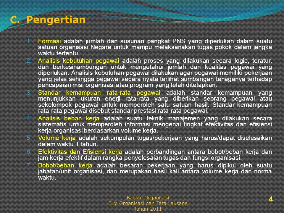 C. Pengertian 1.Formasi adalah jumlah dan susunan pangkat PNS yang diperlukan dalam suatu satuan organisasi Negara untuk mampu melaksanakan tugas poko