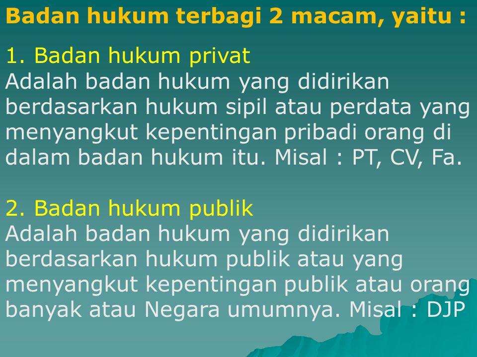 B. Subjek Hukum Badan Hukum.