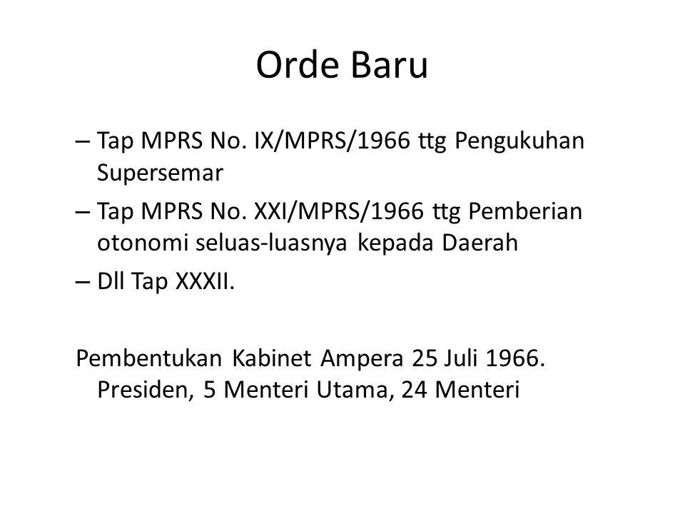 Orde Baru Letjen Soeharto sbg Ketua Presidium.