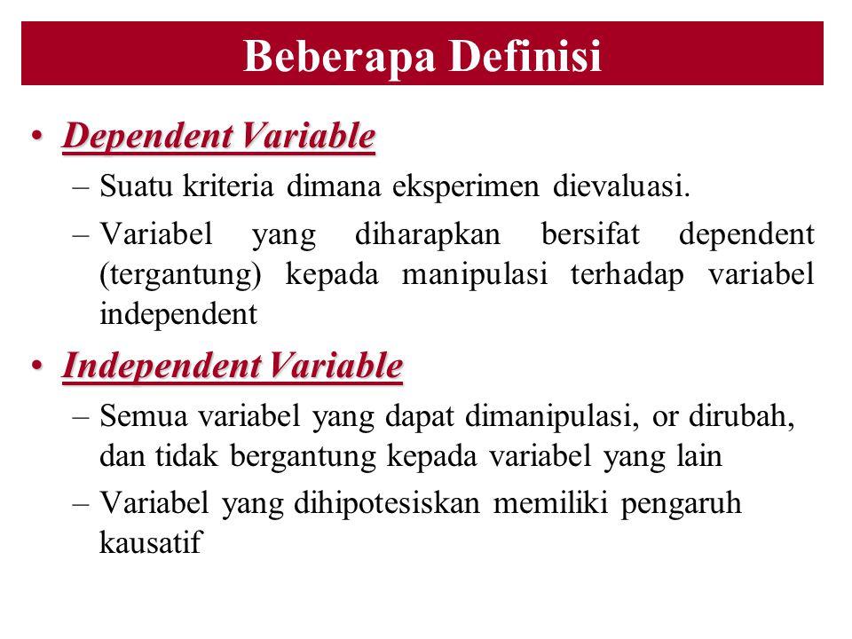 Beberapa Definisi Dependent VariableDependent Variable –Suatu kriteria dimana eksperimen dievaluasi. –Variabel yang diharapkan bersifat dependent (ter