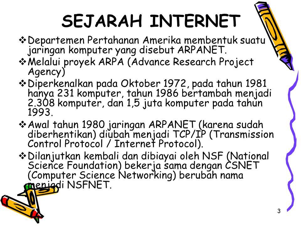 3 SEJARAH INTERNET  Departemen Pertahanan Amerika membentuk suatu jaringan komputer yang disebut ARPANET.  Melalui proyek ARPA (Advance Research Pro