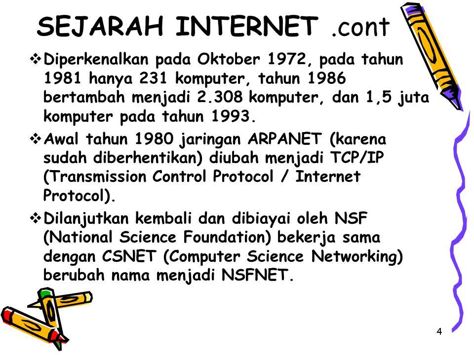 4 SEJARAH INTERNET.cont  Diperkenalkan pada Oktober 1972, pada tahun 1981 hanya 231 komputer, tahun 1986 bertambah menjadi 2.308 komputer, dan 1,5 ju