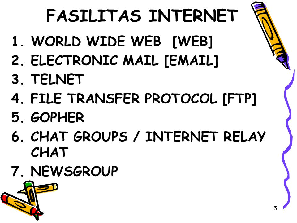 5 FASILITAS INTERNET 1.WORLD WIDE WEB [WEB] 2. ELECTRONIC MAIL [EMAIL] 3. TELNET 4. FILE TRANSFER PROTOCOL [FTP] 5. GOPHER 6. CHAT GROUPS / INTERNET R