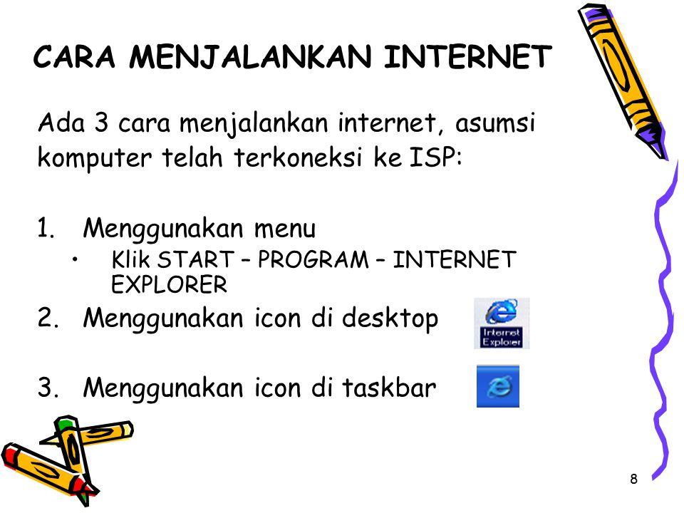 8 CARA MENJALANKAN INTERNET Ada 3 cara menjalankan internet, asumsi komputer telah terkoneksi ke ISP: 1.Menggunakan menu Klik START – PROGRAM – INTERN