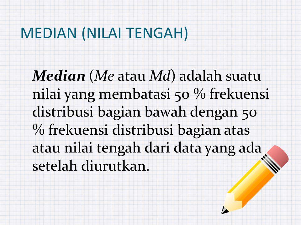 MEDIAN (NILAI TENGAH) Median (Me atau Md) adalah suatu nilai yang membatasi 50 % frekuensi distribusi bagian bawah dengan 50 % frekuensi distribusi bagian atas atau nilai tengah dari data yang ada setelah diurutkan.