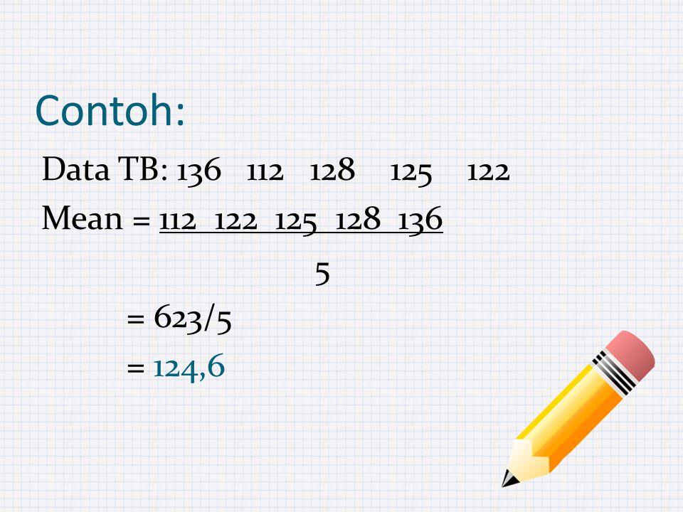 Contoh: Data TB: 136 112 128 125 122 Mean = 112 122 125 128 136 5 = 623/5 = 124,6