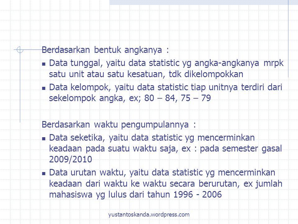 Berdasarkan bentuk angkanya : Data tunggal, yaitu data statistic yg angka-angkanya mrpk satu unit atau satu kesatuan, tdk dikelompokkan Data kelompok,