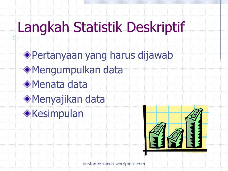 Langkah Statistik Deskriptif Pertanyaan yang harus dijawab Mengumpulkan data Menata data Menyajikan data Kesimpulan yustantoskanda.wordpress.com