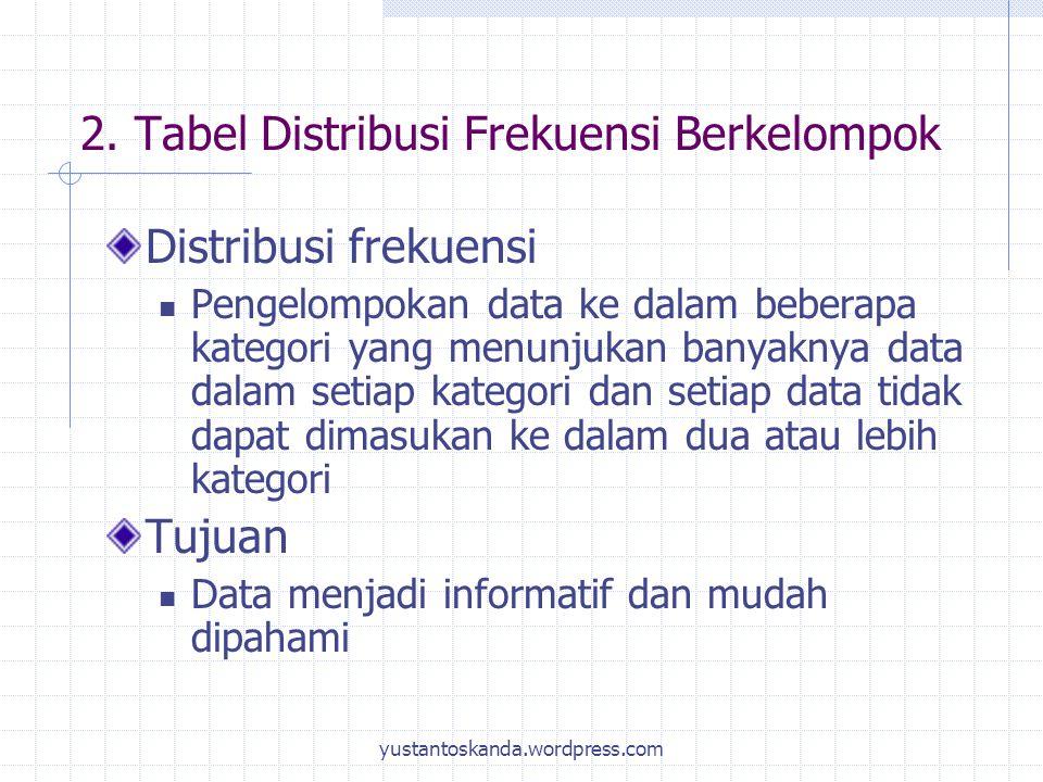 2. Tabel Distribusi Frekuensi Berkelompok Distribusi frekuensi Pengelompokan data ke dalam beberapa kategori yang menunjukan banyaknya data dalam seti