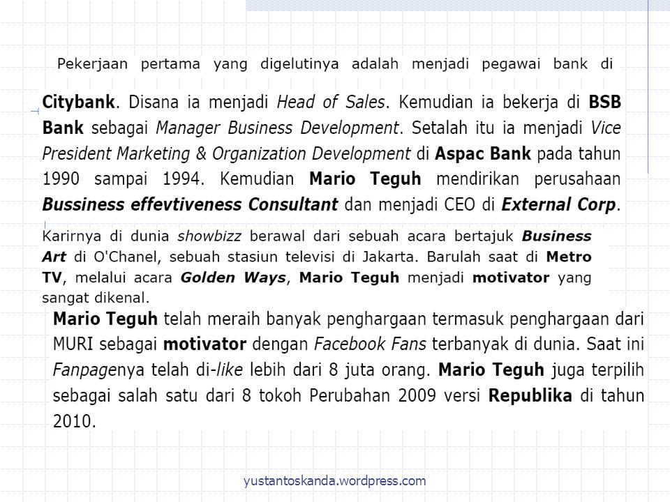 SUMBER DATA STATISTIKA DATA Data Primer 1.Wawancara langsung 2.Wawancara tidak langsung 3.Pengisian kuisioner Data Sekunder Data dari pihak lain: 1.BPS 2.Bank Indonesia 3.World Bank, IMF 4.FAO dll yustantoskanda.wordpress.com