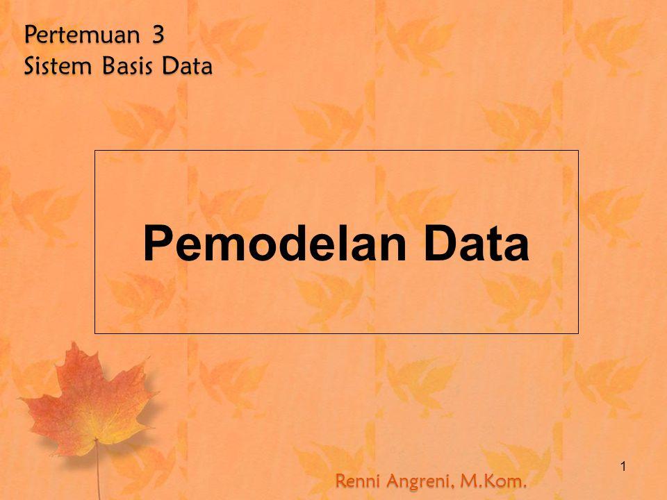 1 Pemodelan Data Renni Angreni, M.Kom. Pertemuan 3 Sistem Basis Data