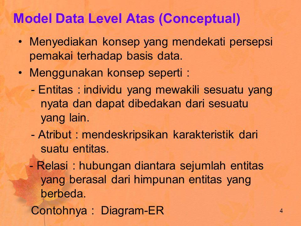 Model Data Level Atas (Conceptual) Menyediakan konsep yang mendekati persepsi pemakai terhadap basis data. Menggunakan konsep seperti : - Entitas : in