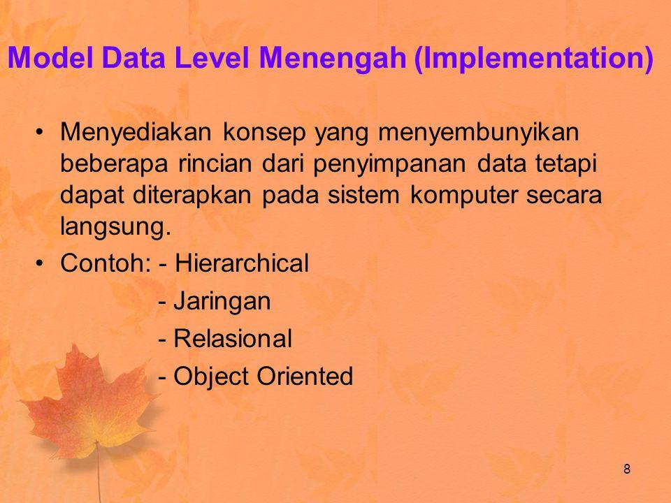 Model Data Level Menengah (Implementation) Menyediakan konsep yang menyembunyikan beberapa rincian dari penyimpanan data tetapi dapat diterapkan pada